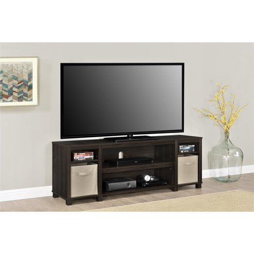 tv cabinets walmart mainstays tv stand with bins for tvs up to 65 quot 27348