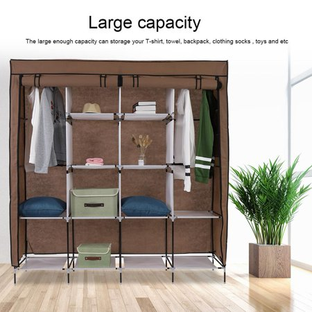 HERCHR Clothes Closet Wardrobe Durable Clothes Storage Non-Woven Fabric  Standing Closet Organizer with Hanging Rod and 12 Shelves for Bedroom  Hanging ...
