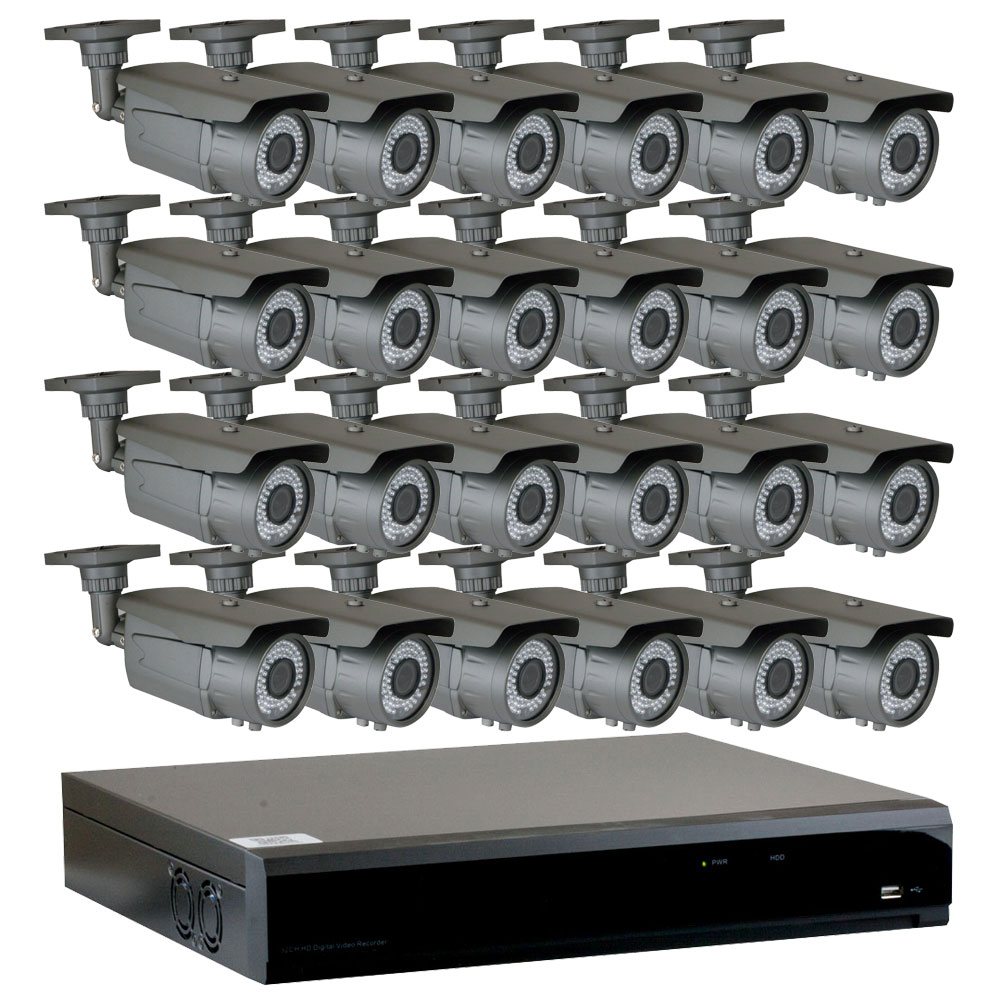 GW 32 Channel 4-In-1 DVR HD-TVI 1080P Complete Security System with (24) x True 2MP HD 1080P Outdoor / Indoor 2.8-12mm Varifocal Zoom Bullet Security Cameras and 6TB HDD, QR Code Scan Free Remote View