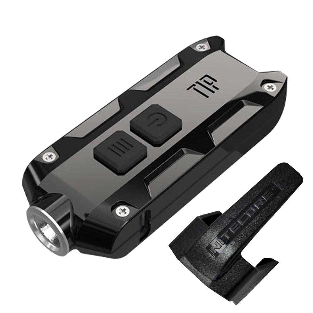 NITECORE TIP 2017 SS 360 Lumen Rechargeable Keychain Flashlight (Stainless Steel - Jet Black)
