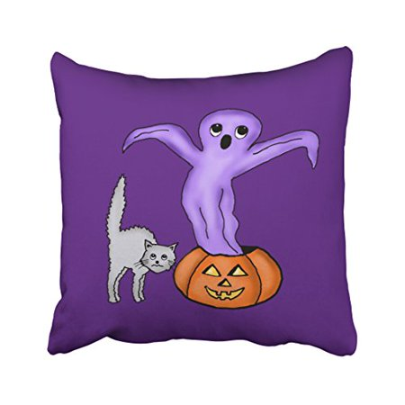 Halloween Pumpkin Borders Clip Art (WinHome Cute Girly Vintage Halloween Ghost Pumpkin Frightened Gray Cat Art Polyester 18 x 18 Inch Square Throw Pillow Covers With Hidden Zipper Home Sofa Cushion Decorative)