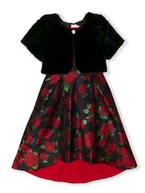 Wonder Nation Girls Holiday Christmas Dress with Faux Fur Shrug Sizes 4-12 & Plus