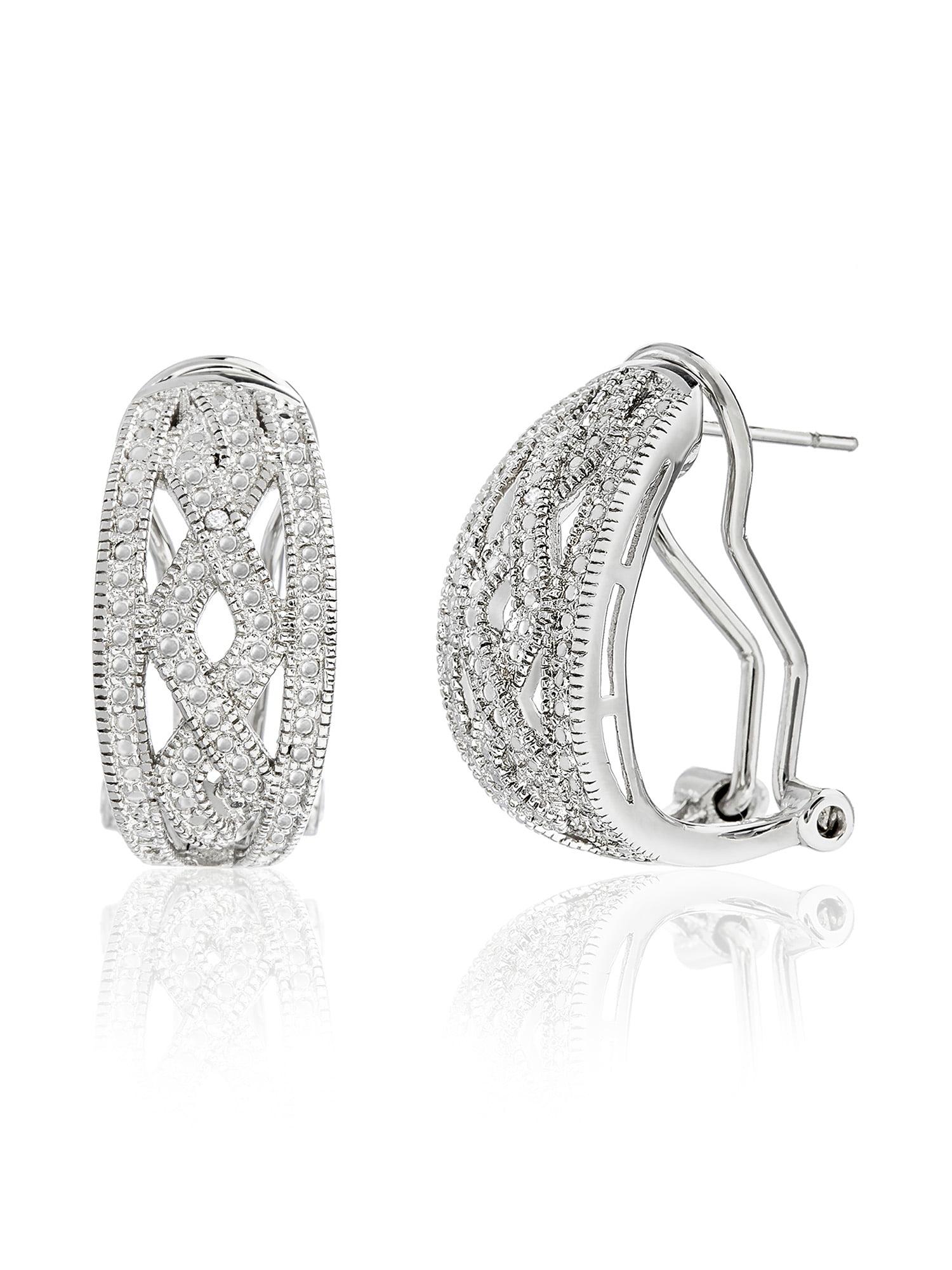 254148db6b61 Diamond Accent ZigZag Post Clip Hoop Earring – BrickSeek