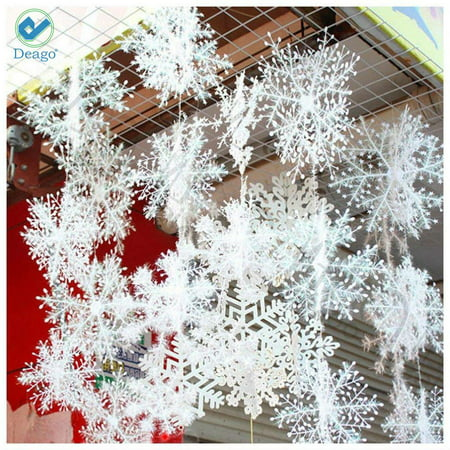 Deago 30 Pcs Christmas Snowflake Ornaments Decoration For Tree Holiday Party Store Home Xmas Decor - Snowflake Decor
