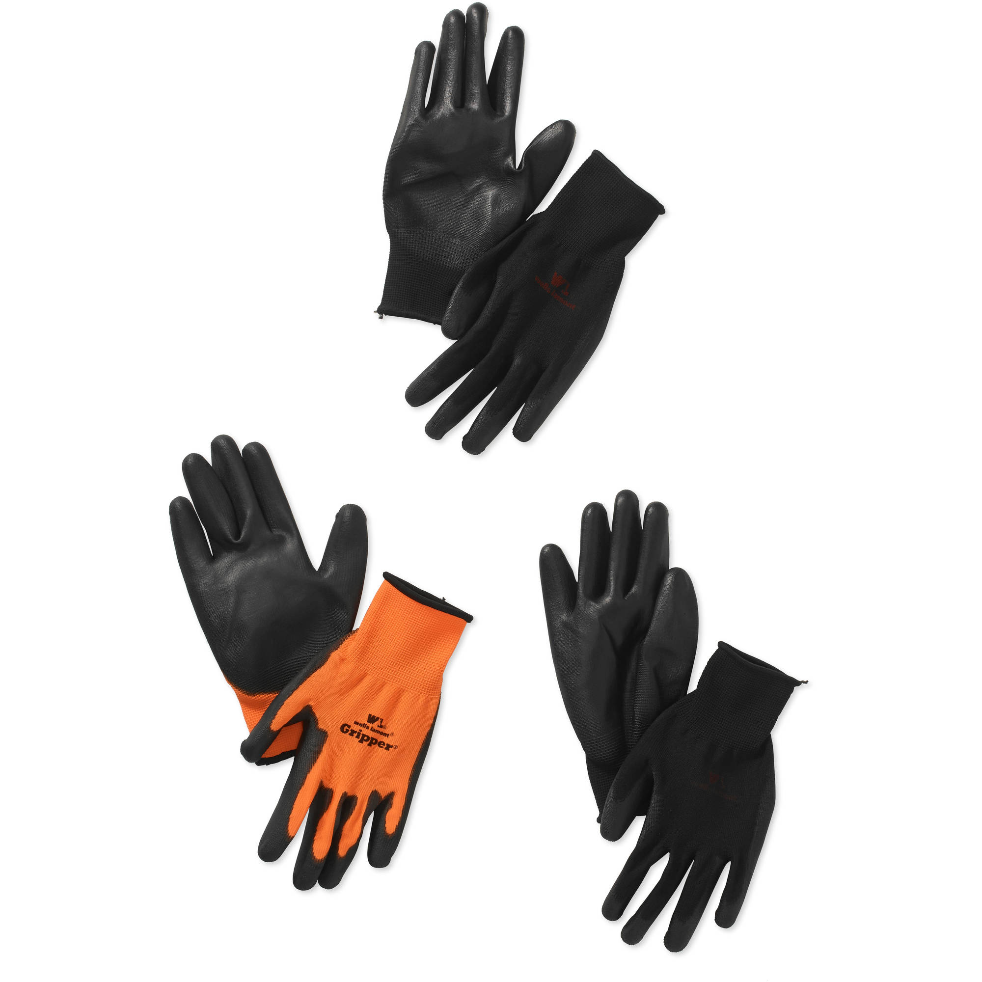 Wells Lamont 559LF The Gripper Work Gloves in Hi Viz Orange, PU-Coated, One Size Fits Most, 3-Pack