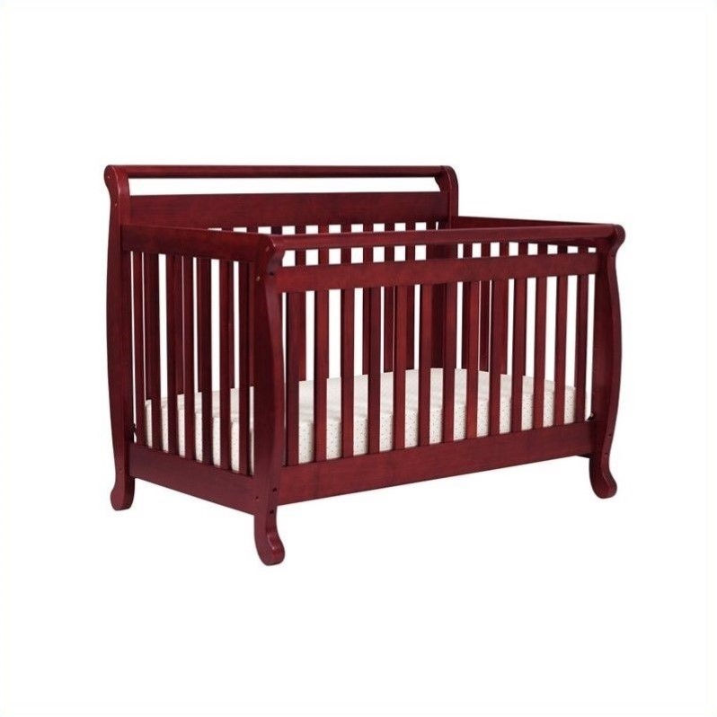 DaVinci Emily 4-in-1 Convertible Crib in Cherry with Crib Mattress by DaVinci Baby