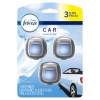Febreze Car Odor-Eliminating Air Freshener Vent Clips, Linen & Sky, 3 Ct