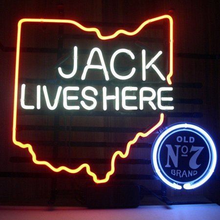Desung Brand New Jack Daniels Lives Here Ohio Old Number 7 No. 7 #7 Whiskey Neon Sign Lamp Glass Beer Bar Pub Man Cave Sports Store Shop Wall Decor Neon Light 17