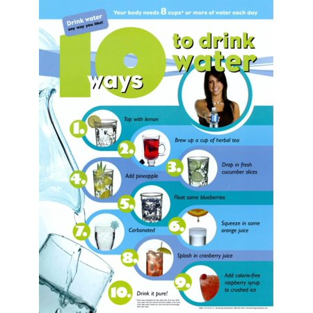 - 10 Ways To Drink Water Laminated Poster - 18x24