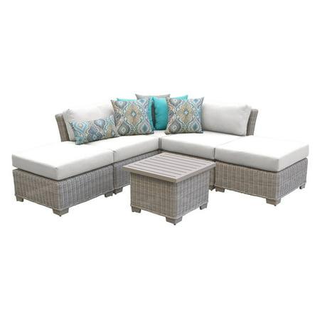 TK Classics Coast 6 Piece Wicker Patio Furniture Set with