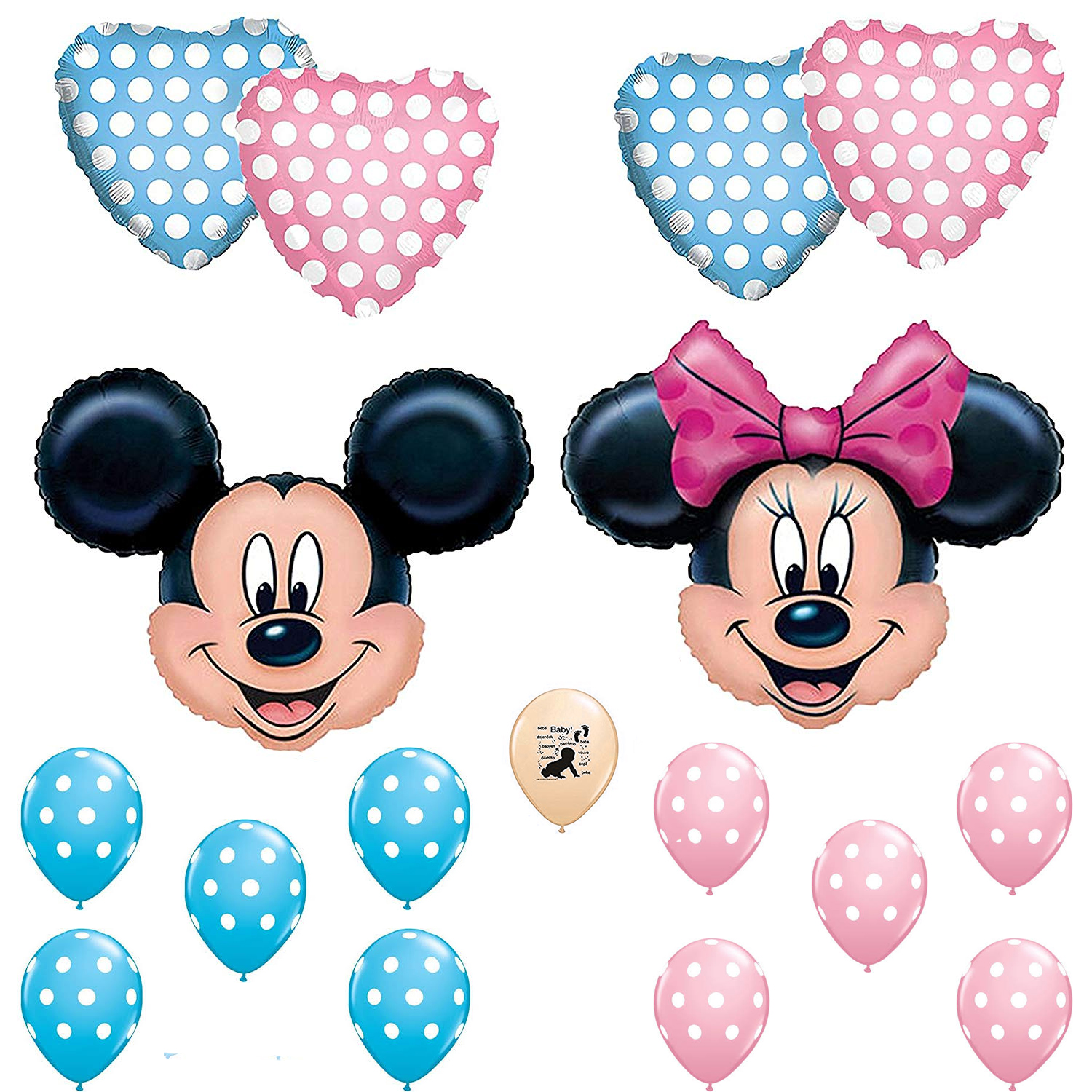Mickey and Minnie Mouse Gender Reveal Baby Shower Balloon Decoration Kit