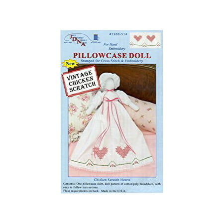 - Stamped White Pillowcase Doll Kit, Chicken Scratch Hearts