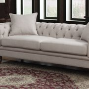 Juliet Collection Contemporary Linen Fabric Upholstered Button Tufted  Living Room Chesterfield Sofa, Beige