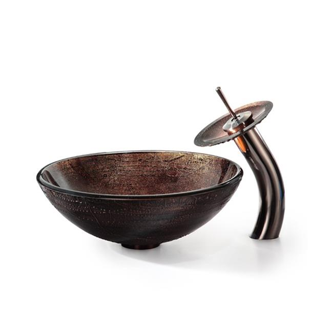 Kraus C-GV-580-12mm-10ORB Illusion Glass Vessel Sink with Single Hole & Handle Waterfall Faucet, Brown - Oil Rubbed Bronze - image 1 de 1