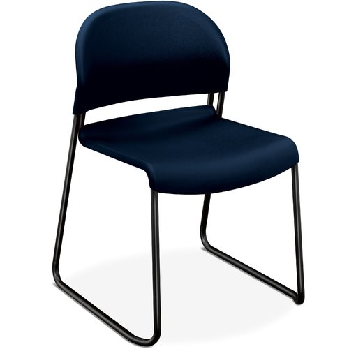 "Hon Gueststacker 4031 Armless Guest Chair - Polymer Blue Seat - Back - Steel Black Frame - 21"" X 21.5"" X 31"" Overall Dimension (403190T)"