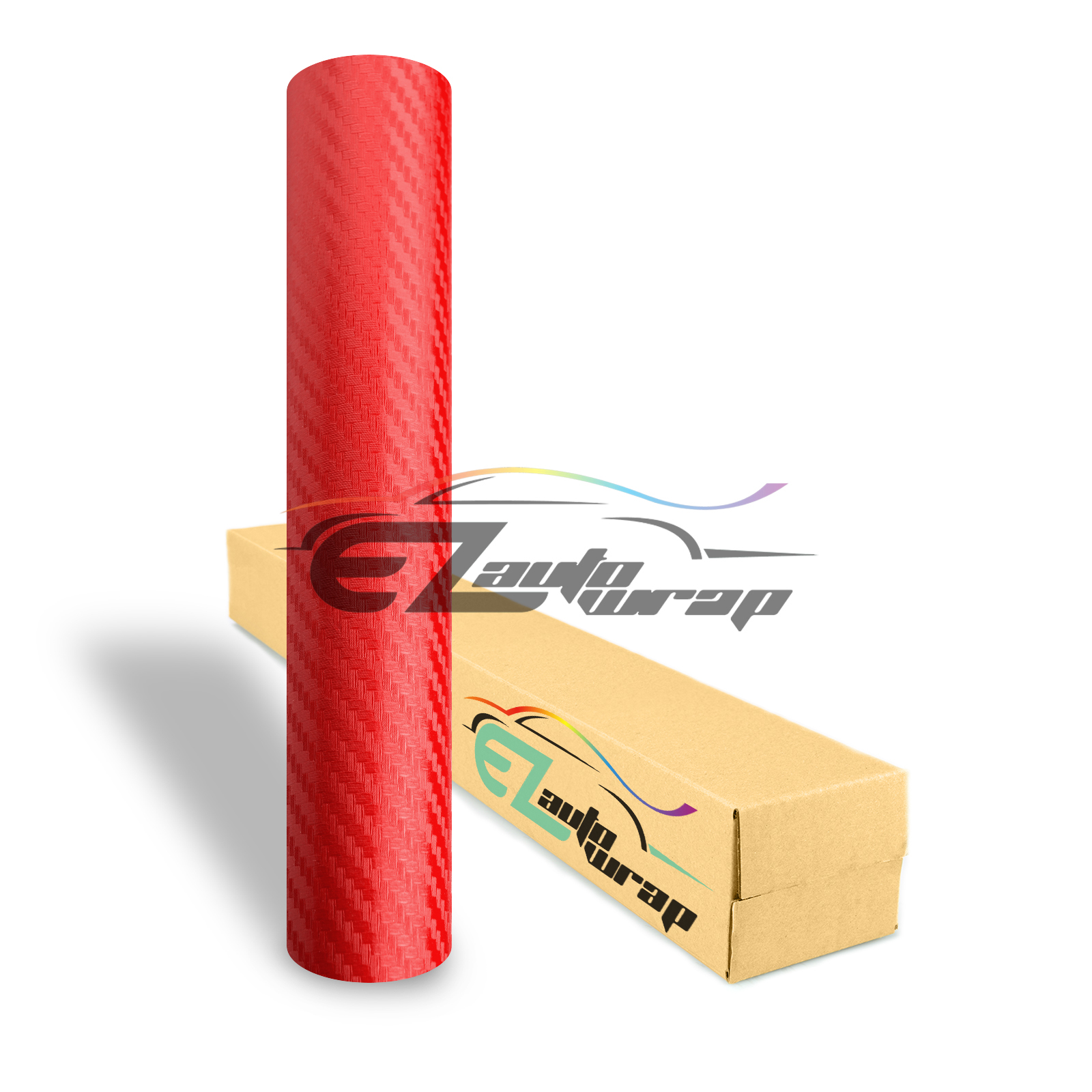 EZAUTOWRAP 3D Red Carbon Fiber Textured Car Vinyl Wrap Sticker Decal Film Sheet Decoration