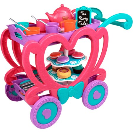 (Kid Connection 47-Piece Tea Cart Play Set with Removable Tray for Serving)