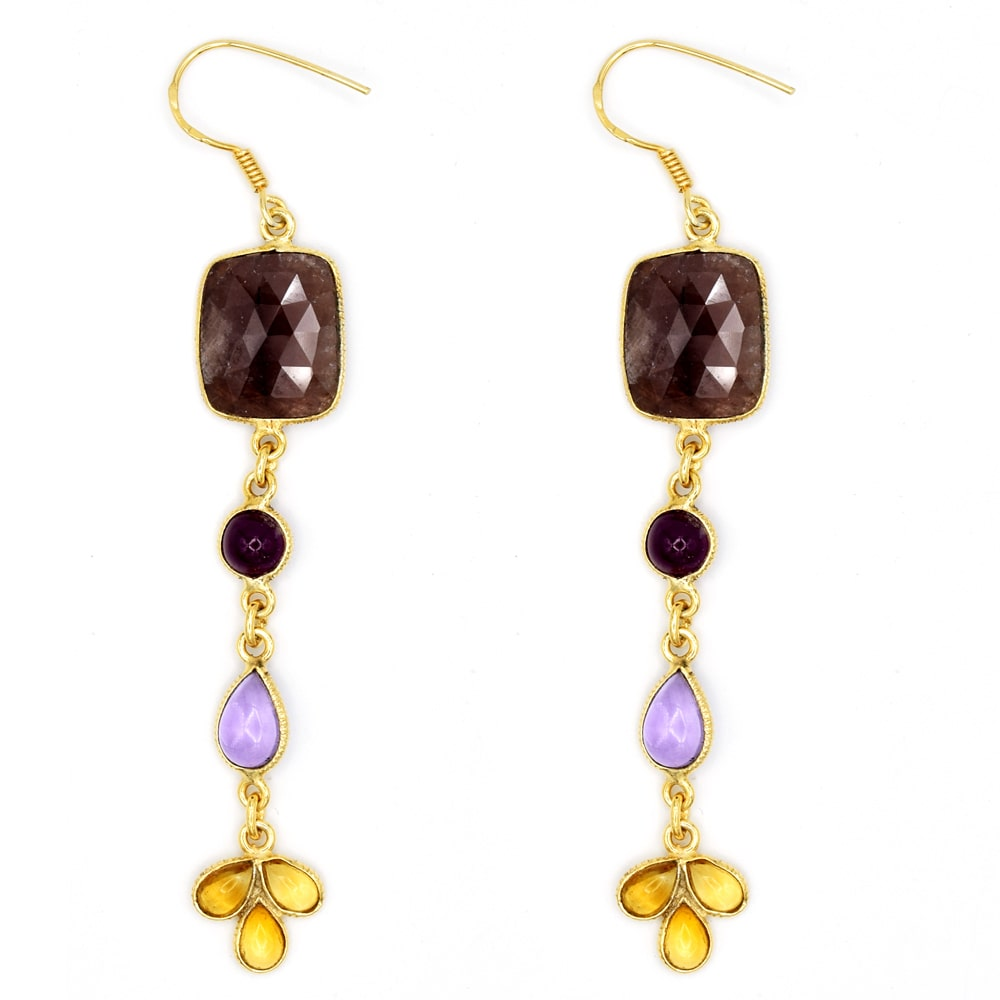 Orchid Jewelry Mfg Inc Orchid Jewelry One of a Kind Yellow Gold Overlay 925 Silver 28 1/4 Carat Multi Gemstones Dangle Earrings