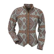 Outback Trading Jacket Womens Maya Tapestry Short Stitch Blue 29613