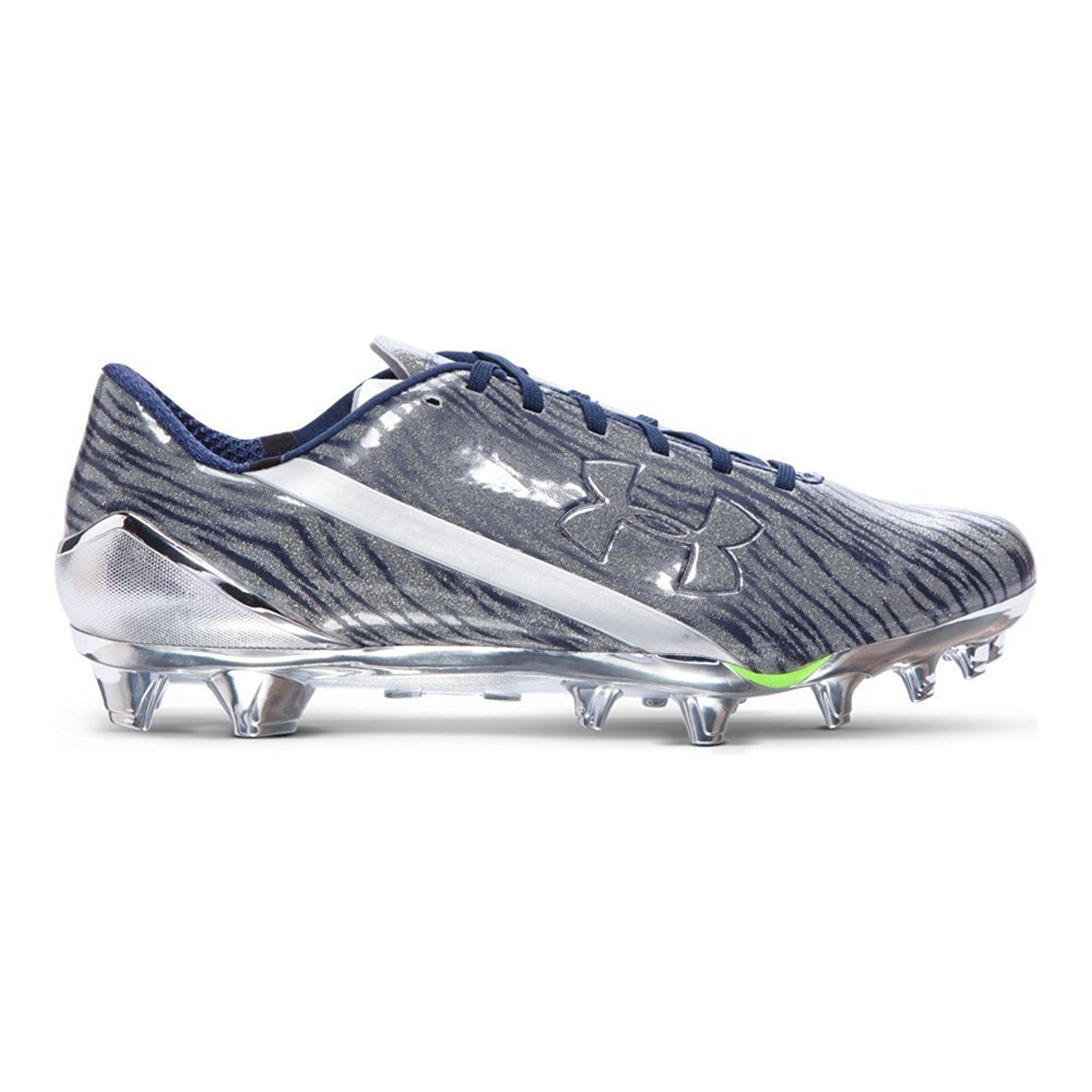 Under Armour Men's UA Spotlight Football Cleats 1280533 241 (Metallic Silver/ Midnight Navy, 12 D(M) US)