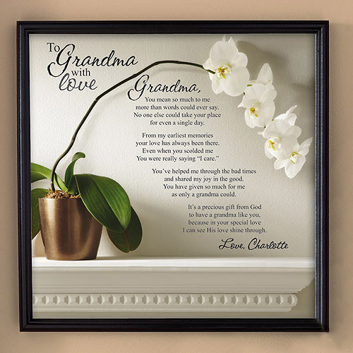 "Personalized ""To Grandma with Love"", Canvas Framed Art, 16"" x 16"", Available in 2 Styles"