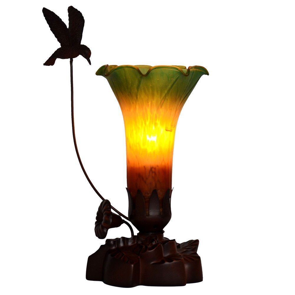 Bieye Tiffany Style Stained Glass Lily Table Lamp With 6 Inches