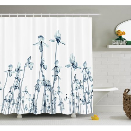 Xray Flower Decor Shower Curtain Set, X-Ray Photo Of A Group Of Orchides Bottom To Top Rare Unseen Art In Complex Nature, Bathroom Accessories, 69W X 70L Inches, By Ambesonne