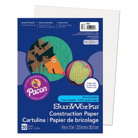Construction Paper 9x12 Light - SUNWORKS 9X12 WHITE 50CT CONSTRUCTION PAPER