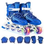 Adjustable Inline Skate Combo Set with Illuminating Wheels, Beginner Roller Skates for Kids Boys Girls Outdoor Skates, Blue/Pink