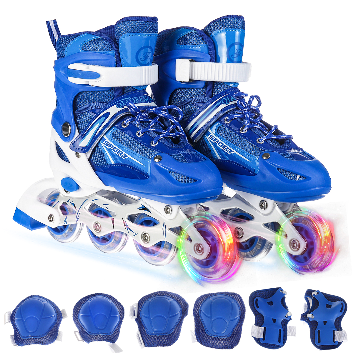 PRESNO Adjustable Inline Skates for Girls and Boys Pink//Blue with Full Light Up Wheels Fun Illuminating Roller Skates Blading for Kids and Youth,Men and Women