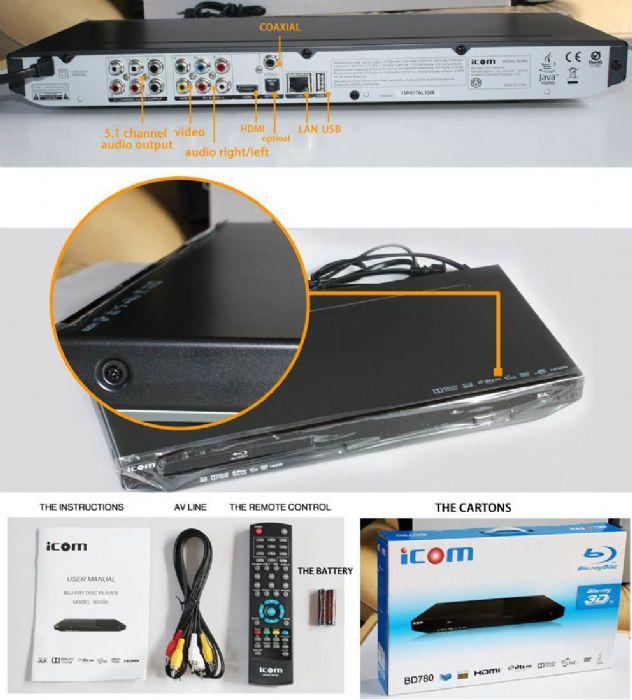 Icom Bd780 3d Blu-ray Disc Player - 1080p - Black - Dolby Truehd, Dts Hd - Bd-r, Dvd-r, Cd-r - Ntsc, Pal - Bd Video, Dvd Video, Avi, M4v, Mkv, Mov, Mp4, Vob, Mpeg - Progressive Scan - Ethernet (bd780)