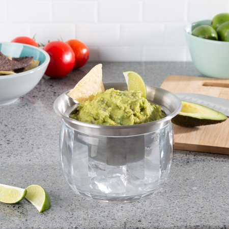 Cold Dip Bowl-Chilled Serving Dish with Ice Chamber-Servingware Container For Dip, Hummus, Dressing, Salsa, Guacamole, and More by Classic Cuisine