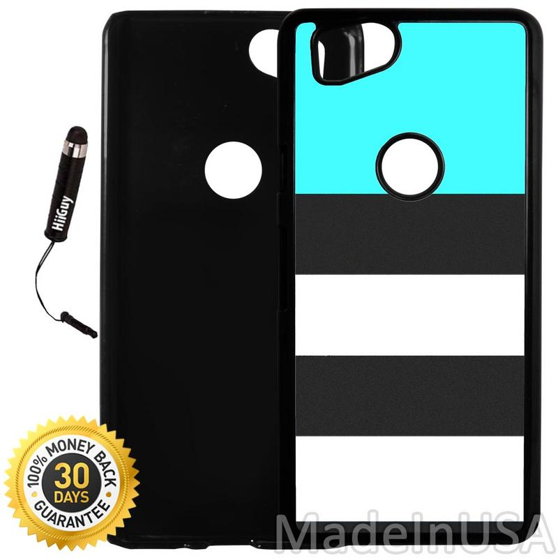 Custom Google Pixel 2 Case (Blue and Dark Grey Stripes) Plastic Black Cover Ultra Slim | Lightweight | Includes Stylus Pen by Innosub