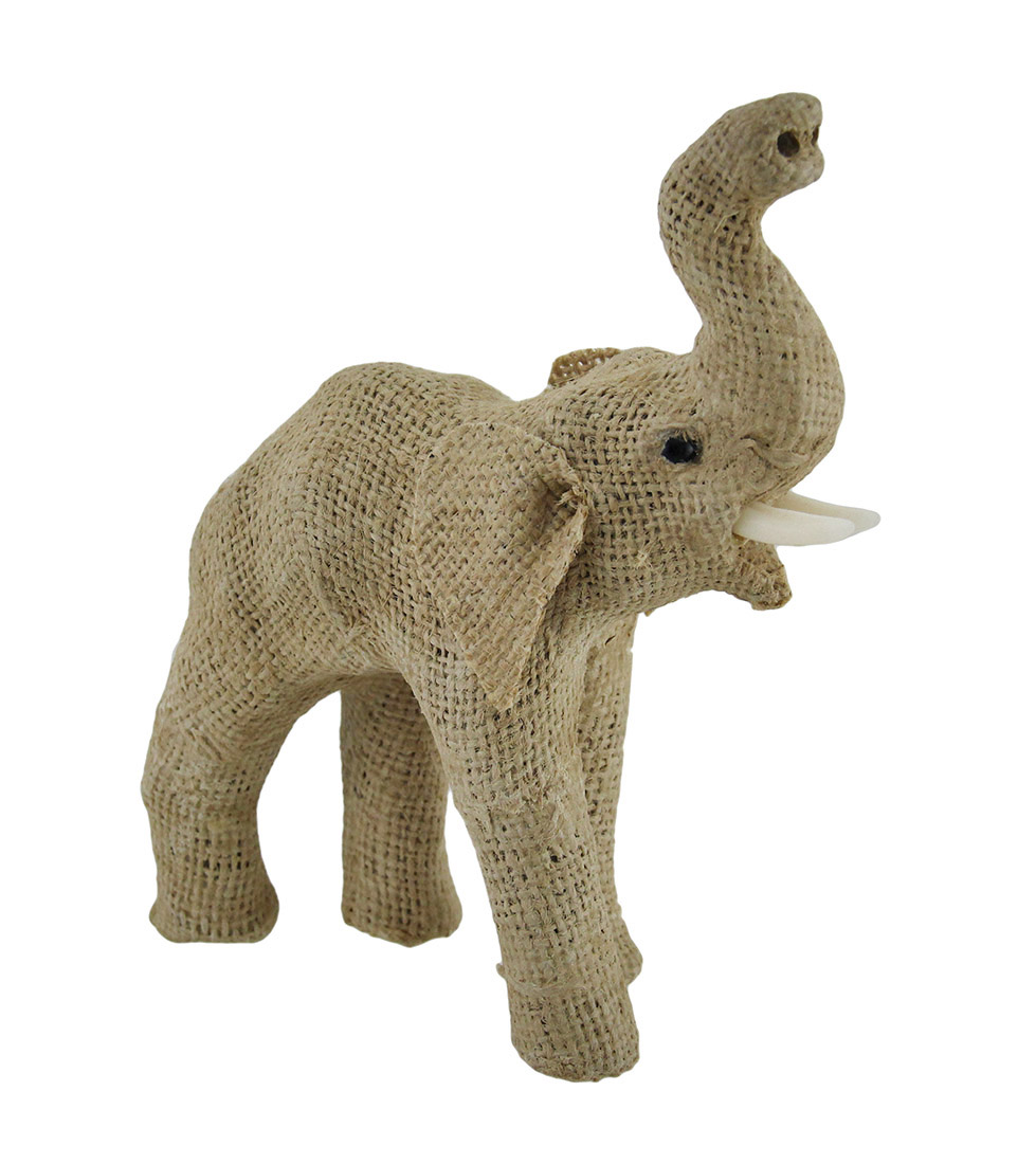 Jute Burlap Wrapped Trunk Up Paper Mache Elephant Sculpture 8 Inch - image 2 of 3