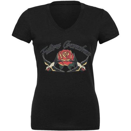 - Future Grandma Swallow Vintage Tattoo Black Juniors V-Neck T-Shirt