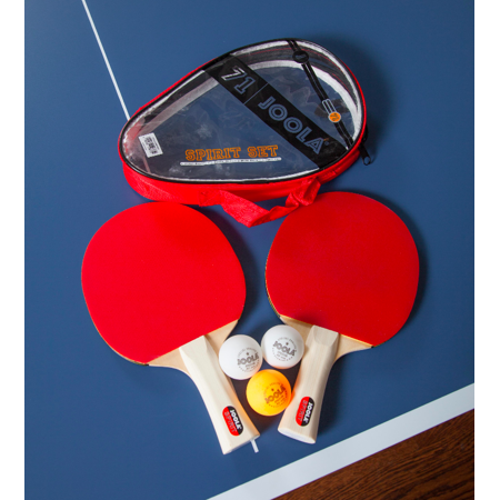 JOOLA Spirit Official Size Table Tennis Bundle with Carrying Case, 2ct Rackets, 3ct Balls ()