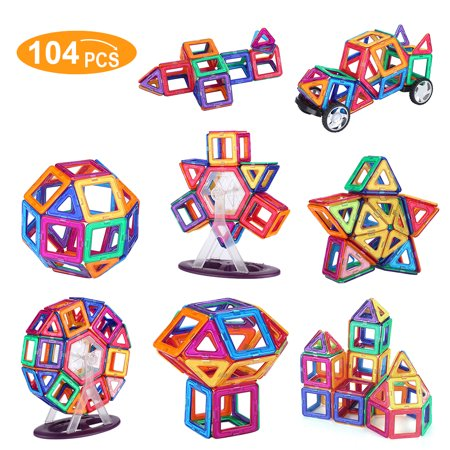 Shinehalo Magnet Building Set 104PCS In Total Including 54 Magnet Tiles, 42 Non-Magnetic Cards And 8 Ferris Wheel Parts Educational And Recreational Toy For 3D Building