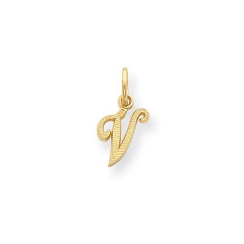14k Yellow Gold Casted Initial V Charm (0.6in long x 0.4in wide)
