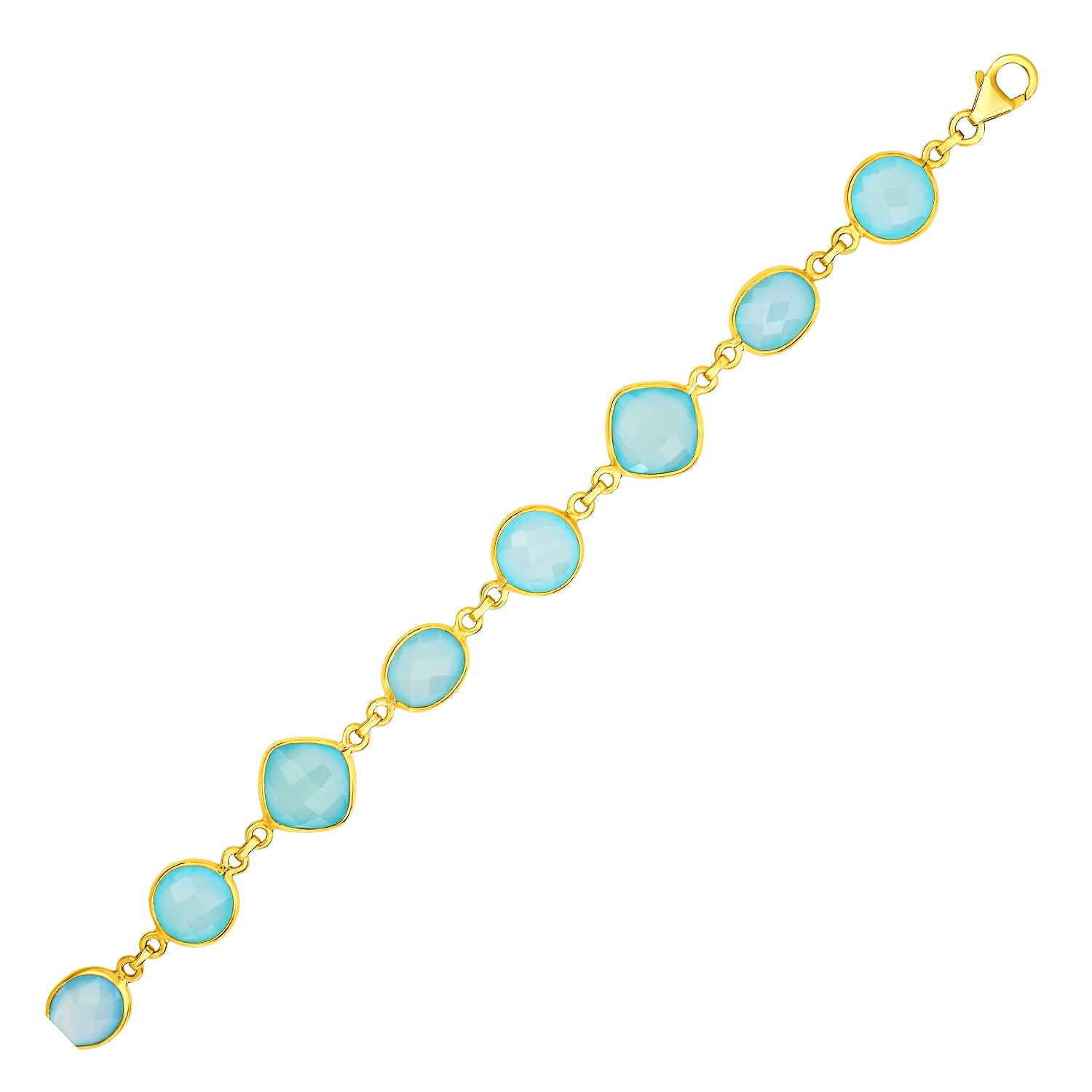 Bracelet with Aqua Chalcedony Links with Yellow Finish in Sterling Silver by Diamond2Deal