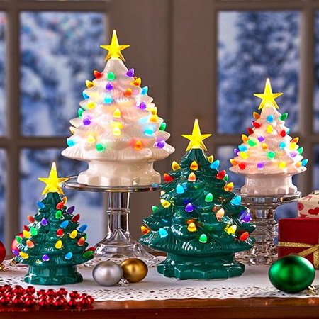 The Lakeside Collection Large Retro Lighted Tabletop Christmas Tree - Green ()