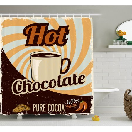 1950S Decor Shower Curtain Set, Old Hot Chocolate Commercial From The Past In Funky Shaded Color With Pure Cocoa Beans And Mug, Bathroom Accessories, 69W X 70L Inches, By Ambesonne
