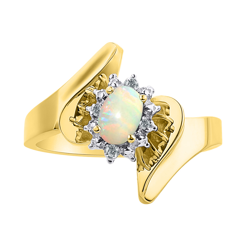 Diamond & Opal Ring Set In 14K Yellow Gold Diamond Halo Color Stone Birthstone Ring by