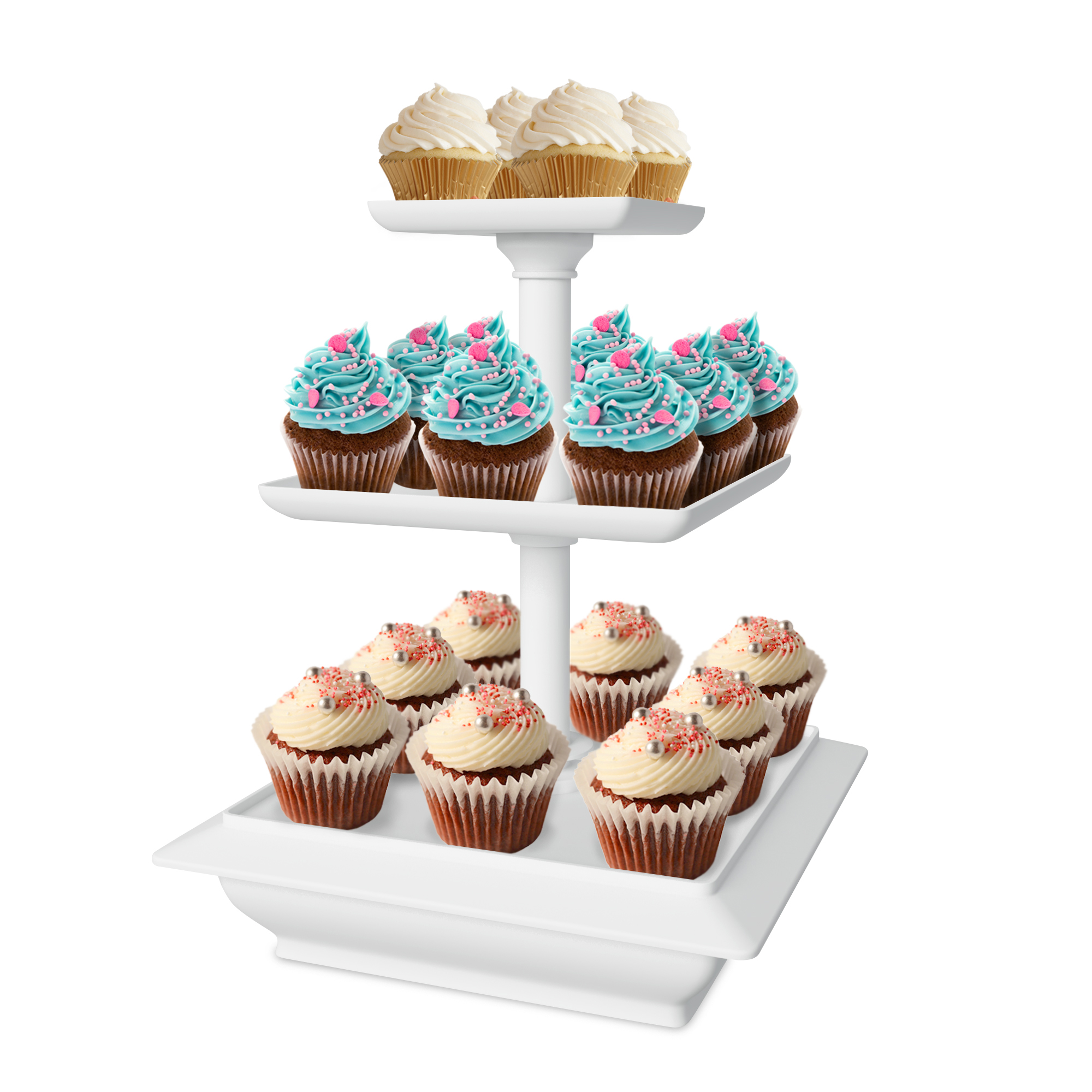 Chef Buddy 3-Tier Collapsible Dessert Stand, White