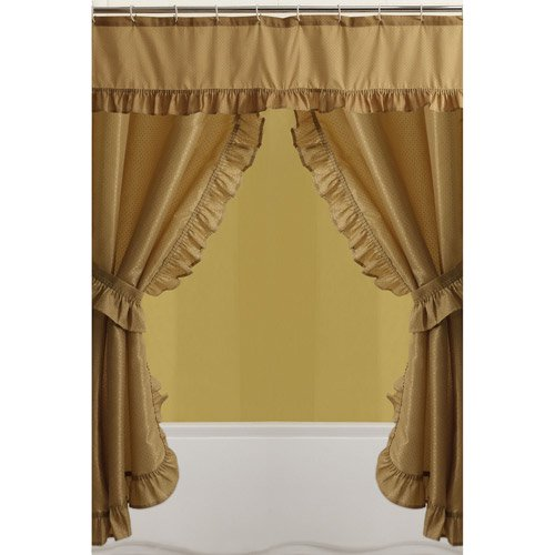 Mainstays Double Swag Shower Curtain, Gold - Walmart.com