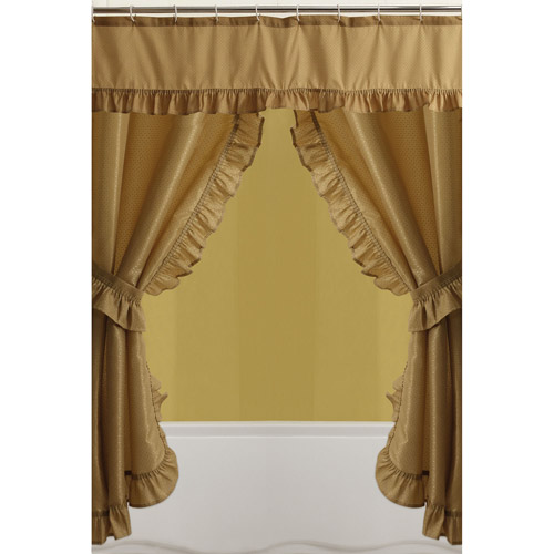 Mainstays Double Swag Shower Curtain, Gold  Double Swag Shower Curtain