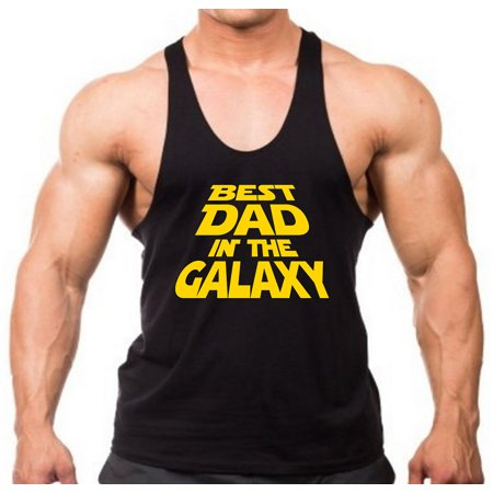Men's Best Dad In The Galaxy Black Stringer Tank Top 2X-Large