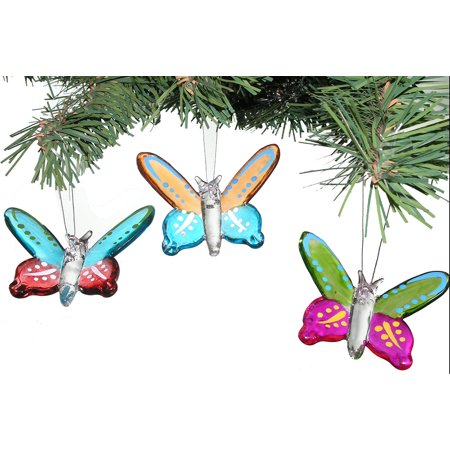 Glass Butterfly Ornaments - Set of 3 - Butterfly Ornaments For Christmas