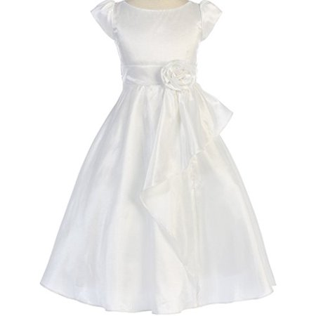 Big Girls' Simple First Communion Cascading Flowers Girls Dresses White 8 (White Girl Dresses)