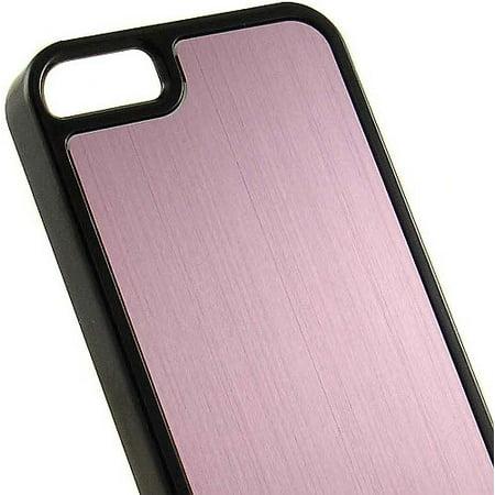PINK BLACK BRUSHED ALUMINUM HARD CASE COVER FOR APPLE iPHONE 5 -