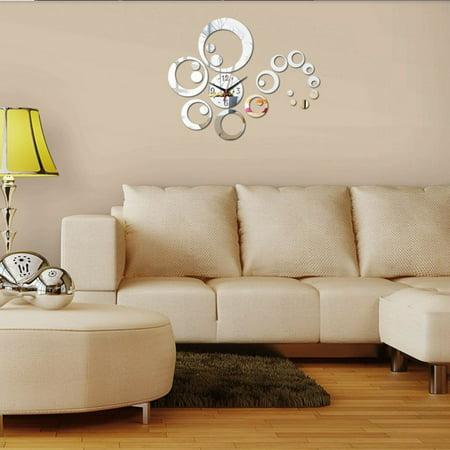 Holiday Clock (Holiday Clearance 3D Modern Circles Mirror Wall Clock Watches Wall Stickers Mirror Wall Clock Home Decor )